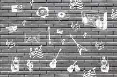 Bricks with symbols of music Stock Images