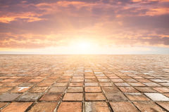 Bricks tiles in sunset Royalty Free Stock Images