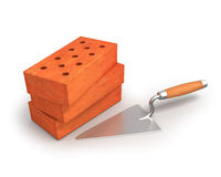Bricks and trowel Stock Photography