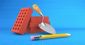 Bricks and trowel. On blueprint background Stock Image