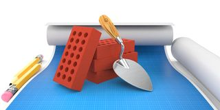 Bricks and trowel. Lies on blueprint Royalty Free Stock Photos