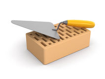 Bricks and Trowel (clipping path included) Stock Photo