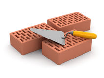 Bricks and Trowel (clipping path included) Stock Photography