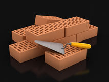 Bricks and Trowel (clipping path included) Royalty Free Stock Photo