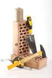 Bricks, trowel and hammer Royalty Free Stock Image
