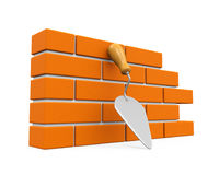 Bricks and Trowel Isolated. On white background. 3D render Royalty Free Stock Images