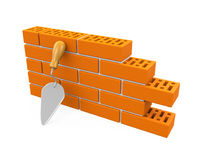 Bricks and Trowel Isolated. On white background. 3D render Stock Photography