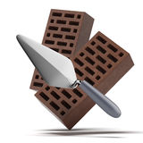 Bricks and trowel Stock Photos