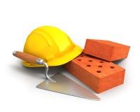 Bricks, trowel and a yellow plastic helmet Stock Photos