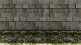 Bricks Wall in Back and Colorful Grass Floor Stock Images
