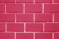 Bricks Wall in Fuchsia Pink and White Color, Front View for Background, Texture. Bricks Wall in Fuchsia Pink and White Color, Front View for Background, Banner stock image
