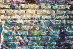 Bricks wall painted in different paint pastel colours. Stock Images