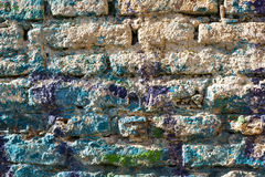Bricks wall painted in different paint pastel colours. Royalty Free Stock Images