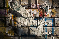 Bricks wall painted in poster colours. Royalty Free Stock Images
