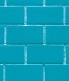 Bricks Wall in Vibrant Ice Blue Color, Closed up for Background, Pattern. Vertical Image Stock Photo