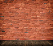 Bricks wall and wooden floor background. Stock Photo