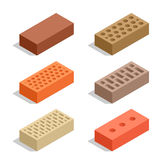 Bricks  on white. Brick icon set.  Stock Photography