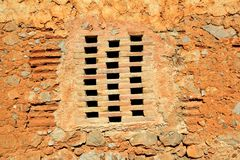 Bricks window in masonry wall ancient architecture Stock Image