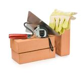 Bricks With Tools For Building Stock Photography