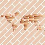 Bricks world map Royalty Free Stock Images
