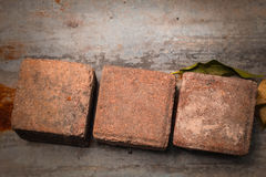 The bricks  on a zinc Stock Photos