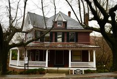 The Brickstein-Leinbach House. This is a Winter picture on a rainy day of the historic Brickenstein-Leinbach House located in Winston-Salem, North Carolina in stock photography