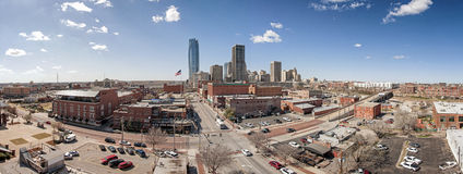 Bricktown Oklahoma. This is a panorama of Bricktown Oklahoma city, in Downtown oklahoma city.  This is a current image that includes the devon tower Royalty Free Stock Photography