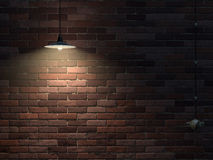 Brickwall. Old brick wall lit the lamp and switch Stock Photo
