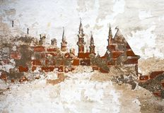 Brickwall background Kazan Kremlin. Kul Sharif mosque silhouette Stock Photography