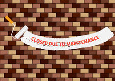 Brickwall with closed due to maintenance text Royalty Free Stock Photos