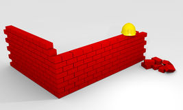 Brickwall construction Stock Photography
