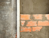 Brickwall construction and mortar cement plaster Royalty Free Stock Photography