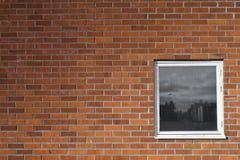 Brickwall e um indicador Fotografia de Stock