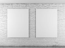 Brickwall with empty frames Royalty Free Stock Image