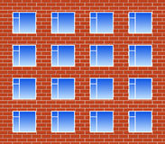 Brickwall with many windows Royalty Free Stock Photography