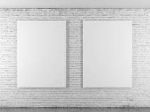 Brickwall med tomma ramar royaltyfri bild