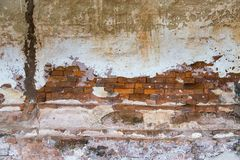 Brickwall old Cement in Sriphochai Temple at Nahaew District stock photography