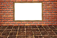 Brickwall pattern and wooden frame Stock Photos