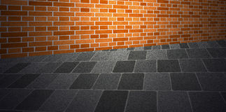 Brickwall sidewalk Royalty Free Stock Images