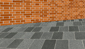 Brickwall sidewalk Royalty Free Stock Photography