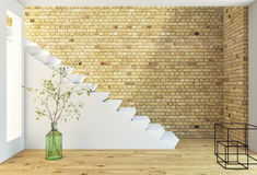 Brickwall and stairs. With plant royalty free illustration