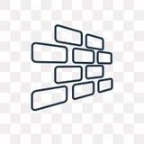Brickwall vector icon on transparent background, linear. Brickwall vector outline icon on transparent background, high quality linear Brickwall transparency stock illustration
