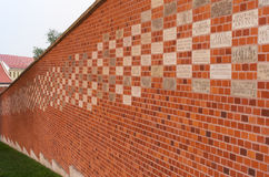 Brickwall of Wawel. Cracow, Poland, Europe – September 2016. Brickwall of Wawel. The contribution wall with plaques the names of citizens and institutions Royalty Free Stock Photography