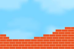 Brickwork against the sky. Stock Photos