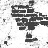 Brickwork, brick wall of an old house, black and white grunge texture, abstract background. Vector stock illustration