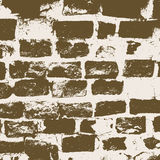 Brickwork, brick wall of an old house, brown and white grunge texture, abstract background. Vector Royalty Free Stock Photos