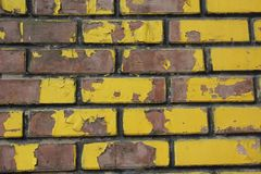 The brickwork is brown and yellow. stock photo