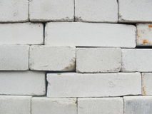 Brickwork. compilation, a combination of red and white, sand-lime brick. Stock Photo