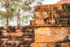 Brickwork,. Construction red brick Places of worship for the Buddhists Royalty Free Stock Photos