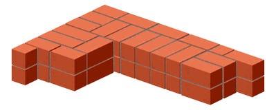 Brickwork. Masonry bricks in half. Construction of a brick wall. Brick stacking scheme Stock Photography